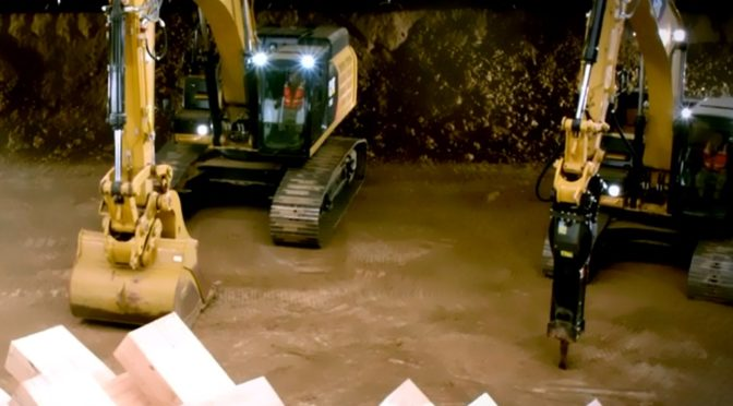 Giant Jenga, CAT Excavators at Play…