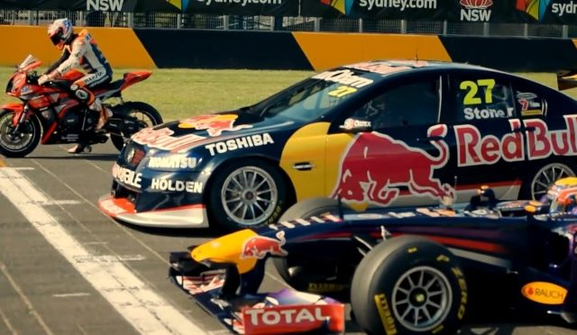 Top Gear F1 versus Supercar versus Motorbike Race…