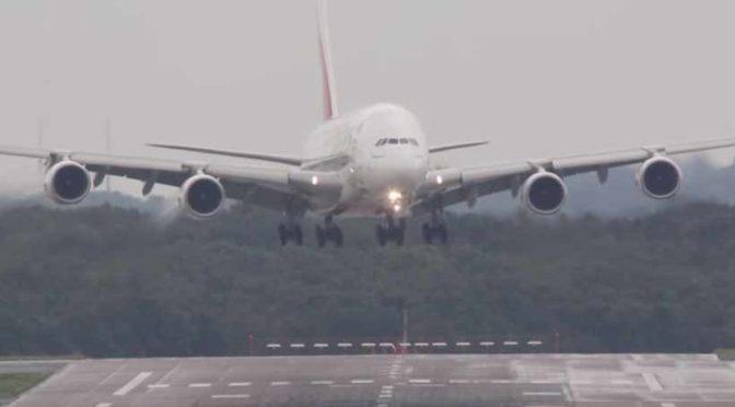 An A380 Landing in a Crosswind.