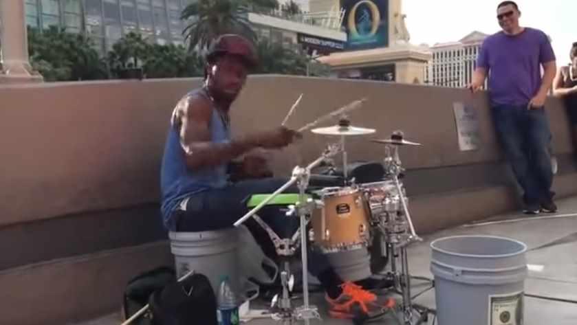 The Best Street Drummer in Las Vegas is Amazing.